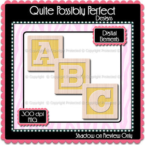 Yellow Baby Blocks Alphabet Clipart (CA107) Upper Case Letters for Scrapbooking, Collage Sheets, Greeting Cards, Bottle Caps
