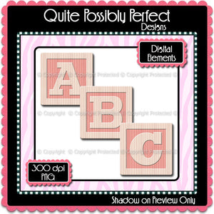 Pink Baby Blocks Alphabet Instant Download (CA108) Upper Case Letters for Scrapbooking, Clipart ,Greeting Cards, Bottle Caps