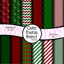 Christmas Digital Paper Pack - Candy Cane Paper - Instant Download (DGP132) for Scrapbooking, Collage Sheets,Greeting Cards, Bottle Caps