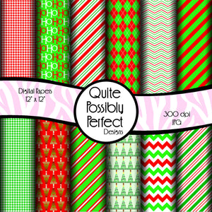 Christmas Digital Paper Pack - Christmas Words - Instant Download (DGP133) for Scrapbooking, Collage Sheets,Greeting Cards, Bottle Caps