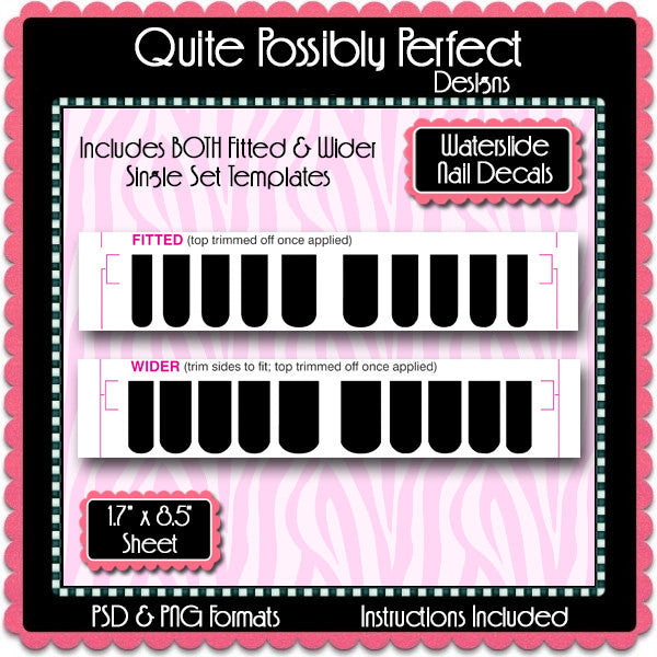 Digital Waterslide Nail DecalsTemplate  - Instant Download (T478) Digital Nail Art Decal Graphics - Personal & Commercial Use OK