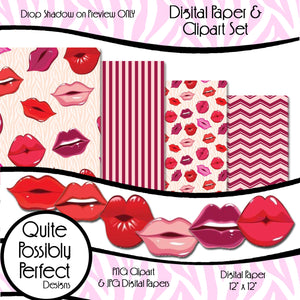 Zebra Hot Lips Digital Paper and Clipart Set Instant Download (DGP137) Hot Lips for Scrapbooking, Collage Sheets,Greeting Cards, Bottle Cap