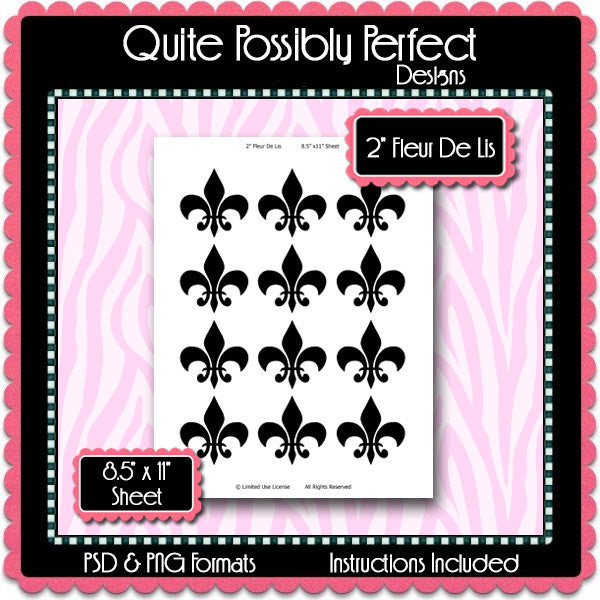 2 Inch Fleur De Lis Template Instant Download PSD and PNG Formats (Temp498) Digital Bottle Cap Collage Sheet Template