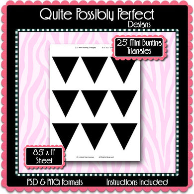 2.5 Inch Mini Bunting Triangles Template Instant Download PSD and PNG Formats (Temp497) Digital Bottle Cap Collage Sheet Template
