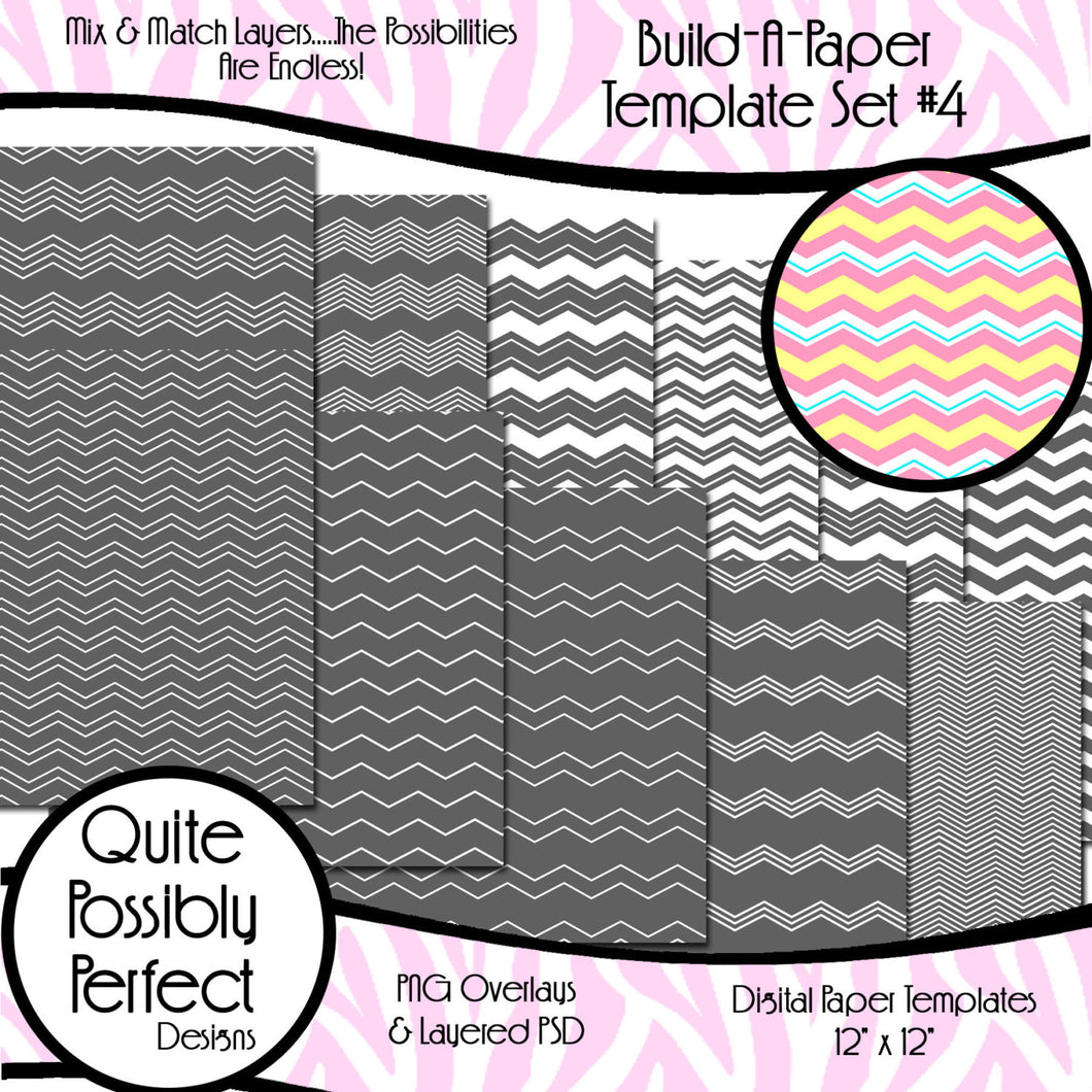 Chevron Build-A-Paper Digital Paper Template Set 1 (PT110) CU Layered Overlay for Creating Your Own Digital Papers Commercial Use OK