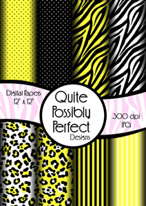 Yellow Girly Zebra Digital Paper Pack(DGP145) Zebra Leopard Dots for Scrapbooking, Collage Sheets,Greeting Cards, Bottle Cap