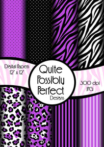 Purple Girly Zebra Digital Paper Pack(DGP142) Zebra Leopard Dots for Scrapbooking, Collage Sheets,Greeting Cards, Bottle Cap