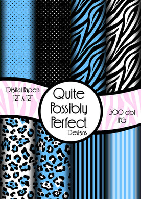Blue Girly Zebra Digital Paper Pack(DGP143) Zebra Leopard Dots for Scrapbooking, Collage Sheets,Greeting Cards, Bottle Cap