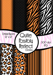 Orange Girly Zebra Digital Paper Pack(DGP146) Zebra Leopard Dots for Scrapbooking, Collage Sheets,Greeting Cards, Bottle Cap