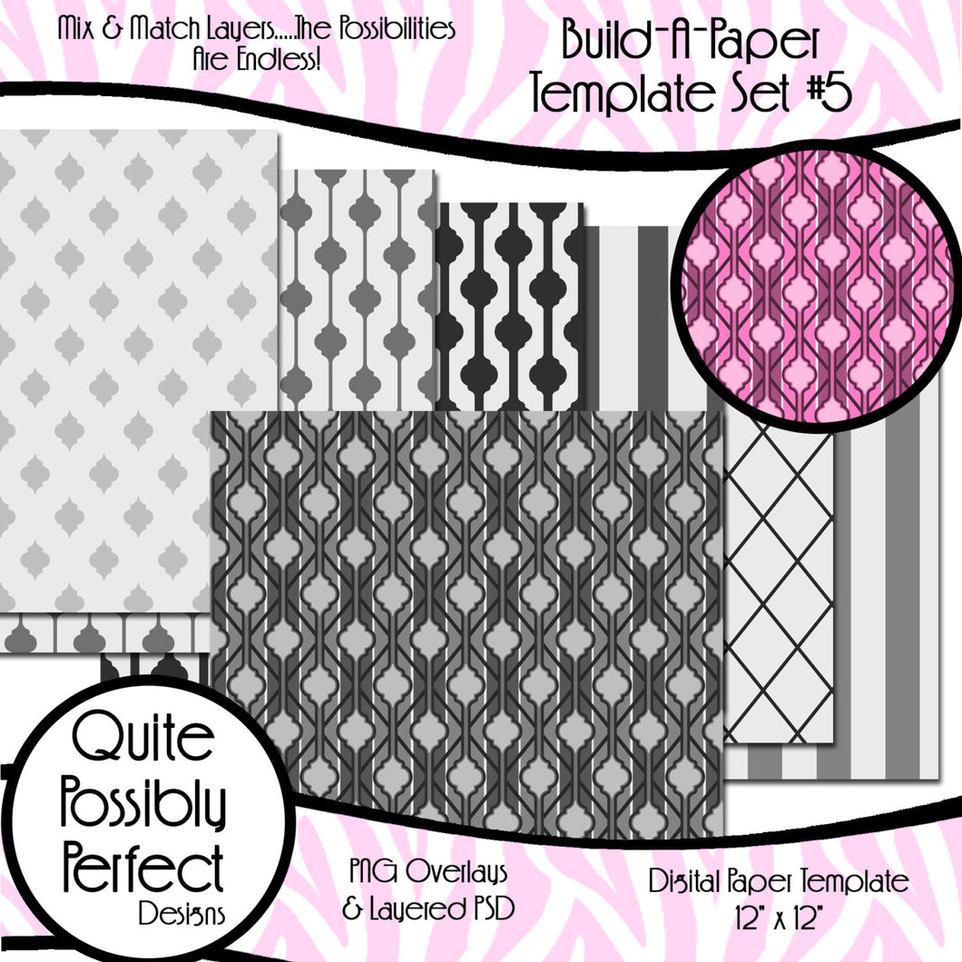 Quatrefoil Build-A-Paper Digital Paper Template Set 5 (PT113) CU Layered Overlay for Creating Your Own Digital Papers Commercial Use OK