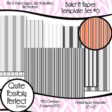 Stripes Build-A-Paper Digital Paper Template Set 6 (PT115) CU Layered Overlay for Creating Your Own Digital Papers Commercial Use OK