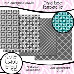 Digital Paper Template - Quatrefoil - Set 1 (PT112) CU Layered Overlay for Creating Your Own Digital Papers Commercial Use OK