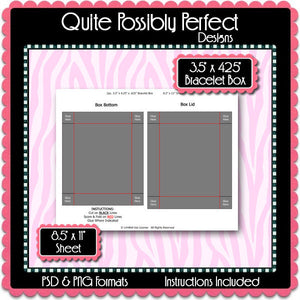 "2pc. 3.5"" x 4.25"" x .625"" Bracelet Box Template Instant Download PSD and PNG Formats (Temp505) Digital Bottle Cap Collage Sheet Template"