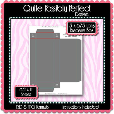 Bracelet Box Template Instant Download PSD and PNG Formats (Temp506) Digital Bottle Cap Collage Sheet Template