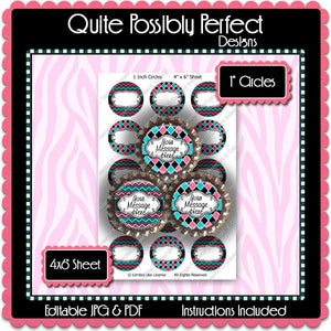Editable Bottle Cap Images - Instant Download JPG & PDF Formats - Pretty Patterns (ET133) Digital Bottlecap Collage Sheet
