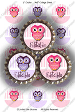 Editable Bottle Cap Images - Instant Download JPG & PDF Formats - Girly Owls (ET125) Digital Bottlecap Collage Sheet