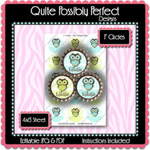 Editable Bottle Cap Images - Instant Download JPG & PDF Formats - Blue Green Owls (ET126) Digital Bottlecap Collage Sheet