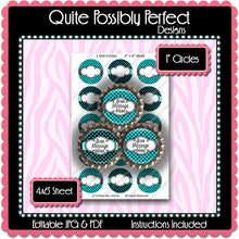 Editable Bottle Cap Images - Instant Download JPG & PDF Formats - Turquoise Polka Dots (ET131) Digital Bottlecap Collage Sheet