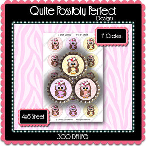Digital Bottle Cap Images - Nurse Owls Collage Sheet (ETR103) 1 Inch Circles for Bottlecaps, Magnets, Jewelry, Hairbows, Buttons