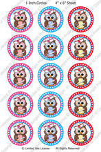 Digital Bottle Cap Images - Nurse Owls 2 Collage Sheet (ETR104) 1 Inch Circles for Bottlecaps, Magnets, Jewelry, Hairbows, Buttons