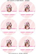 "Editable 1.5"" Button Machine Images - Instant Download JPG & PDF Formats - Nurse Owls  (ET135P) Digital Bottlecap Collage Sheet"
