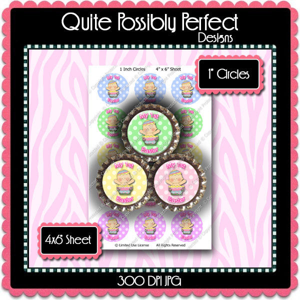Digital Bottle Cap Images - Baby's 1st Easter Collage Sheet (ETR106) 1 Inch Circles for Bottlecaps, Magnets, Jewelry, Hairbows, Buttons