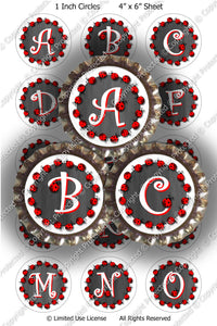 Digital Bottle Cap Images - Chalkboard Ladybug Initials  (ETR107) 1 Inch Circles for Bottlecaps, Magnets, Jewelry, Hairbows, Buttons