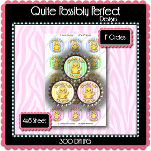 Digital Bottle Cap Images - Cute Lil Chick  (ETR108) 1 Inch Circles for Bottlecaps, Magnets, Jewelry, Hairbows, Buttons