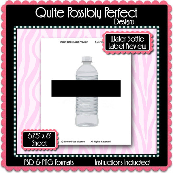 Water Bottle Label Preview Template Instant Download PSD and PNG Formats (Temp518) Digital Bottlecap Collage Sheet Template