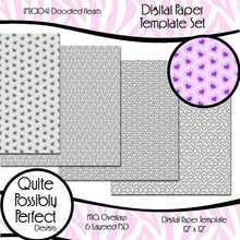 Digital Paper Templates - Doodled Hearts Paper Templates (PTJC104) CU Layered Overlay for Creating Your Own Digital Papers Commercial Use OK