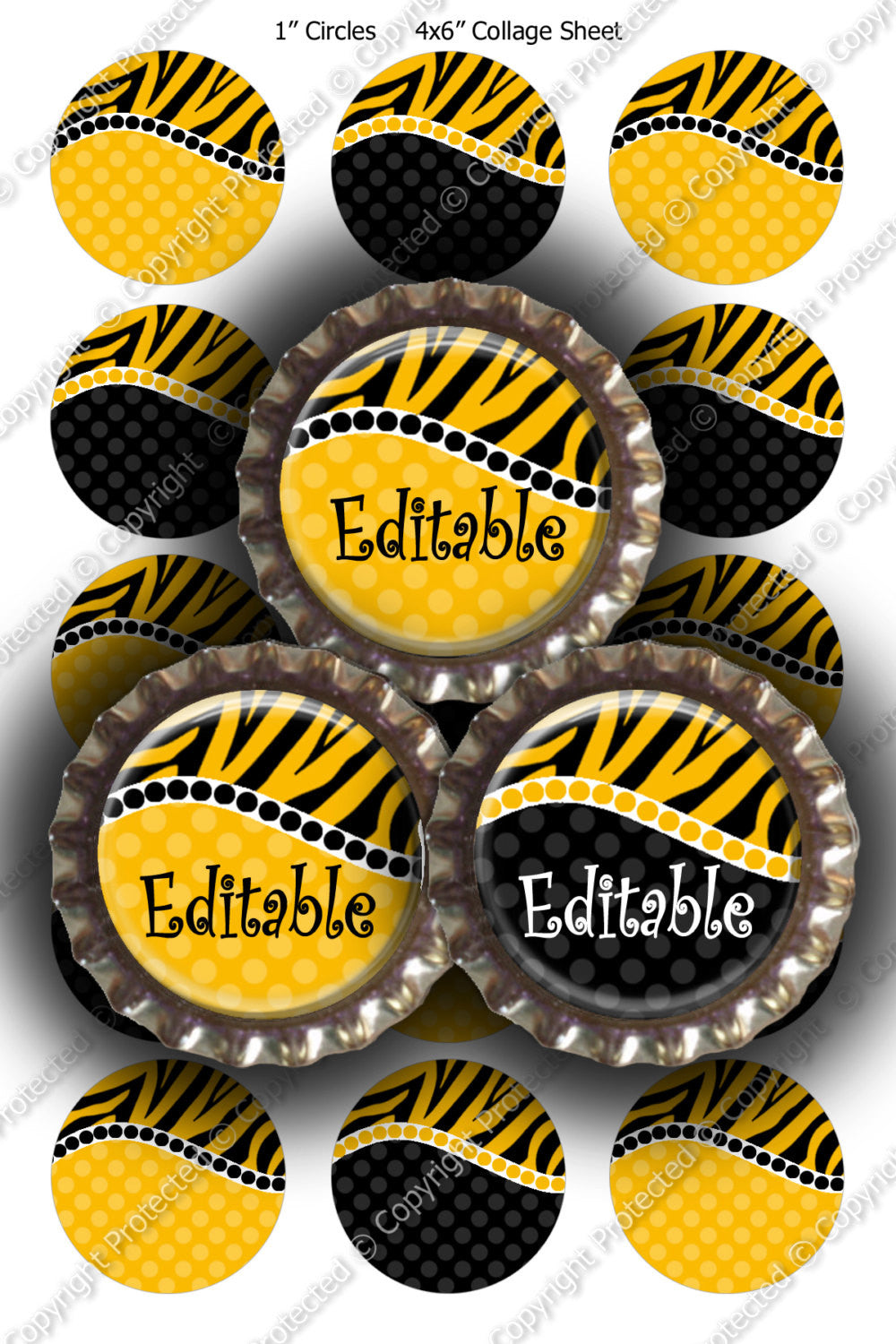 Editable Bottle Cap Images - Instant Download JPG & PDF Formats - Zebra Yellow Curve (ET143) Digital Bottlecap Collage Sheet