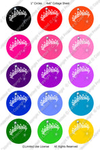 Editable Bottle Cap Images - Instant Download JPG & PDF Formats - Princess Tiara Colors (ET142) Digital Bottlecap Collage Sheet