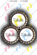 Editable Bottle Cap Images - Instant Download JPG & PDF Formats - Simple Baby Footprints (ET145) Digital Bottlecap Collage Sheet