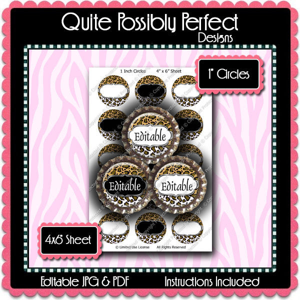 Editable Bottle Cap Images - Instant Download JPG & PDF Formats - Gold Leopard (ET148) Digital Bottlecap Collage Sheet
