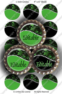 Editable Bottle Cap Images - Instant Download JPG & PDF Formats - Shamrocks 1 (ET149) Digital Bottlecap Collage Sheet