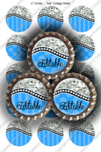 Editable Bottle Cap Images - Instant Download JPG & PDF Formats - Blue Glitter Curve (ET153) Digital Bottlecap Collage Sheet