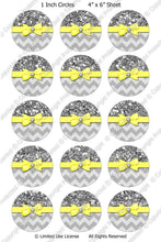 Editable Bottle Cap Images - Instant Download JPG and PDF Format - Yellow Ribbon Silver Glitter Wrap (ET166) Digital Bottlecap Collage Sheet