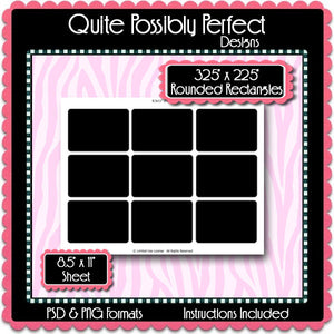 "3.25"" x 2.25"" Rounded Rectangles Template Instant Download PSD and PNG Formats (Temp533) 8.5x11"" Digital Bottle Cap Collage Sheet Template"