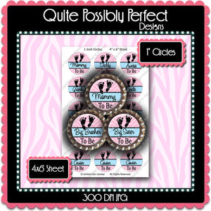 Digital Bottle Cap Images - Chevron Baby To Be 2  (ETR110) 1 Inch Circles for Bottlecaps, Magnets, Jewelry, Hairbows, Buttons