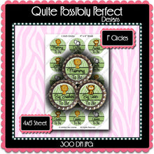 Digital Bottle Cap Images - Jungle Baby To Be  (ETR115) 1 Inch Circles for Bottlecaps, Magnets, Jewelry, Hairbows, Buttons