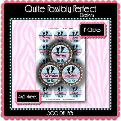 Digital Bottle Cap Images - Chevron Baby To Be  (ETR109) 1 Inch Circles for Bottlecaps, Magnets, Jewelry, Hairbows, Buttons