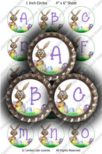 Digital Bottle Cap Images - Easter Bunny Initials  (ETR111) 1 Inch Circles for Bottlecaps, Magnets, Jewelry, Hairbows, Buttons