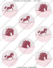 "Editable 2.25"" Button Machine Images - Instant Download JPG Format - Pink Pony Horse  (ET140) Digital Bottlecap Collage Sheet"