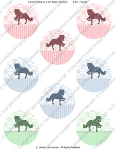 "Editable 2.25"" Button Machine Images - Instant Download JPG Format - Damask Horse  (ET139) Digital Bottlecap Collage Sheet"