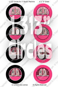 "Editable 1"" Button Machine Images - Instant Download JPG & PDF Formats - RT Hot Pink Stripes  (ET171) Digital Bottlecap Collage Sheet"
