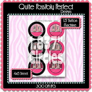 "Editable 1.5"" Button Machine Images - Instant Download JPG & PDF Formats - RT Hot Pink Stripes  (ET171) Digital Bottlecap Collage Sheet"