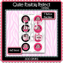 "Editable 1"" Button Machine Images - Instant Download JPG & PDF Formats - RT Hot Pink Chevron  (ET170) Digital Bottlecap Collage Sheet"