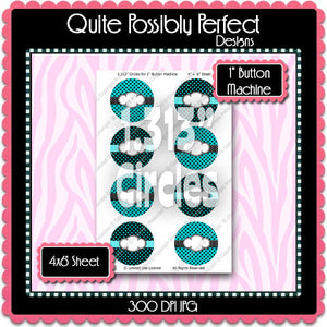 "Editable 1"" Button Machine Images - Instant Download JPG & PDF Formats - Turquoise Polka Dots  (ET131) Digital Bottlecap Collage Sheet"