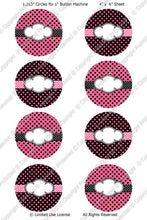 "Editable 1"" Button Machine Images - Instant Download JPG & PDF Formats - Pink Polka Dots  (ET132) Digital Bottlecap Collage Sheet"