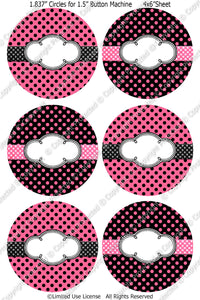 "Editable 1.5"" Button Machine Images - Instant Download JPG & PDF Formats -Pink Polka Dots  (ET132) Digital Bottlecap Collage Sheet"